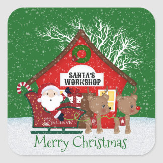 Santa's Workshop Christmas Holiday sticker