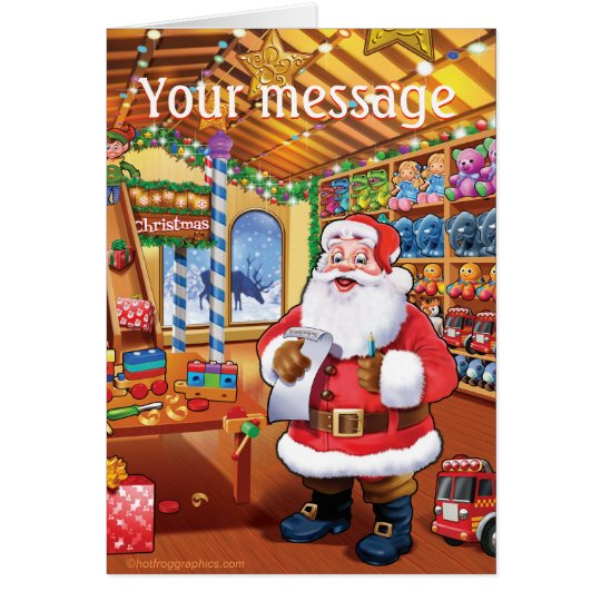 santa's workshop cute fun christmas card