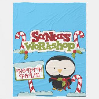 Santa's Workshop Penguin Fleece Blanket