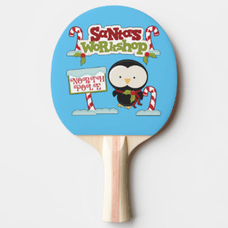 Santa's Workshop Penguin Ping Pong Paddle