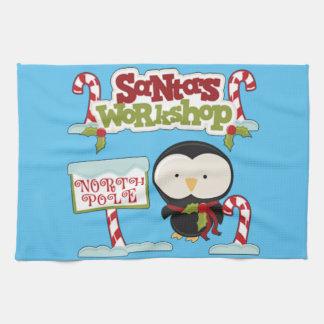 Santa's Workshop Penguin Tea Towel