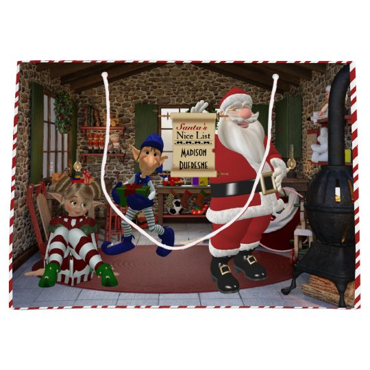 Santa's Workshop Personalised w/Child's Name Large Gift Bag