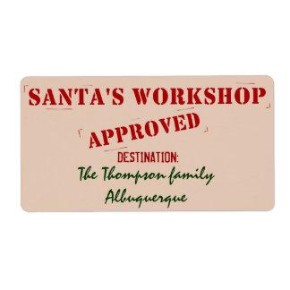 Santa's Workshop Personalized Labels