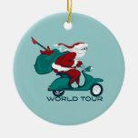 Santa's World Tour Scooter Round Ceramic Decoration