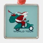 Santa's World Tour Scooter Silver-Colored Square Decoration