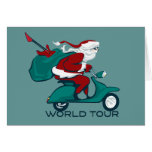 Santa's World Tour Scooter Greeting Card
