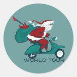 Santa's World Tour Scooter Round Stickers
