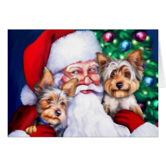 Santa's Yorkies at Christmas Card