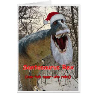 Santasaurus Rex Holiday Greeting Card with Verse