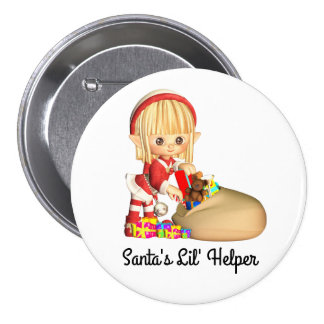 Santas's Little Helper Red Girl Elf 7.5 Cm Round Badge