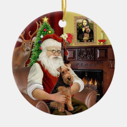 Santas's Welsh Terrier Christmas Tree Ornament