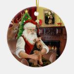 Santas's Welsh Terrier Round Ceramic Decoration