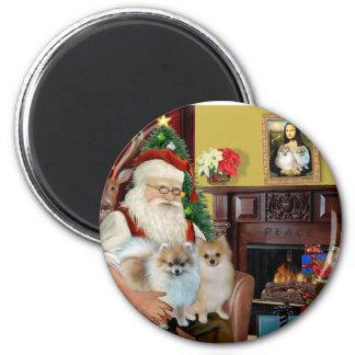 Santa'sTwo Pomeranians Magnet