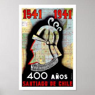 Santiago Chile South America Vintage Travel Poster
