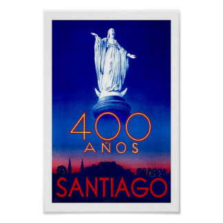 Santiago Chile South America Vintage Travel Poster