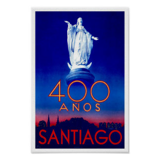 Santiago Chile Vintage Travel Poster