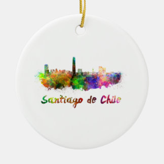 Santiago of Chile skyline in watercolor Christmas Ornament