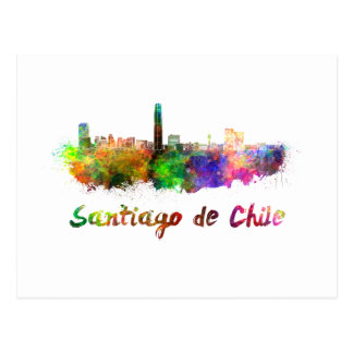 Santiago of Chile skyline in watercolor Postcard