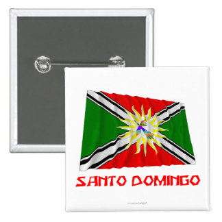 Santo Domingo waving flag with Name 15 Cm Square Badge