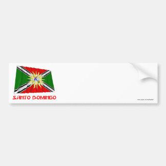 Santo Domingo waving flag with Name Bumper Sticker