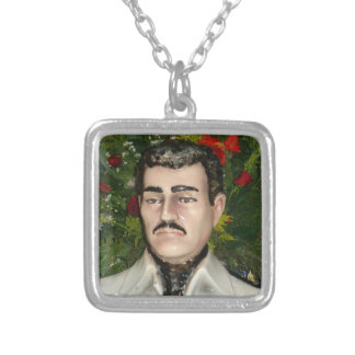 """Santo"" Jesús Malverde Silver Plated Necklace"