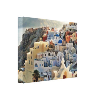 Santorini Blue and White View Greek Holiday Island Canvas Print