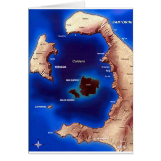 santorini-caldera-map jpg greeting card