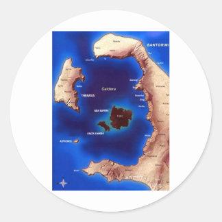 santorini-caldera-map.jpg round sticker