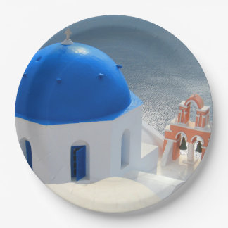 Santorini Church in the Afternoon Sun Paper Plate