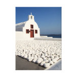 Santorini church with white stones stretched canvas print