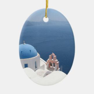 Santorini Greece Ceramic Oval Decoration