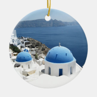 Santorini Greece Christmas Ornament