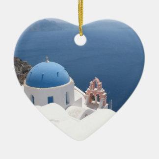 Santorini Greece Christmas Ornament