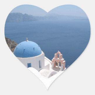 Santorini Greece Heart Sticker