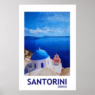 Santorini Greece - Retro Style Poster II