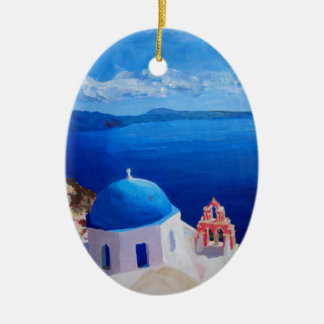 Santorini, Greece - View from Oia Christmas Ornament