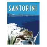 Santorini Greece vintage travel style Postcard