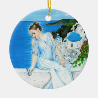 Santorini Greek beauty Ornament