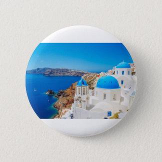 Santorini Island - Caldera, Greece 6 Cm Round Badge