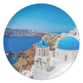 Santorini Island - Caldera, Greece Dinner Plate