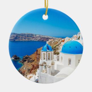 Santorini Island - Caldera, Greece Round Ceramic Decoration