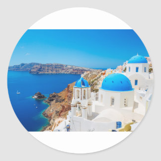 Santorini Island - Caldera, Greece Round Sticker