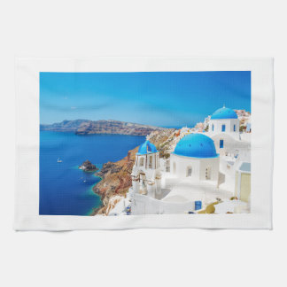 Santorini Island - Caldera, Greece Tea Towel