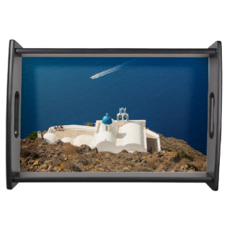 Santorini - little white church with blue dome service tray