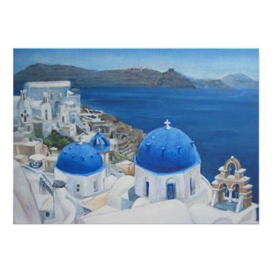 Santorini Oia Blue church oil painting Poster