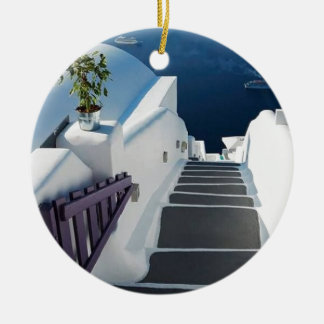 Santorini Oia Steps, Greece Round Ceramic Decoration