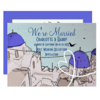 Santorini Post Wedding Celebration Party 13 Cm X 18 Cm Invitation Card