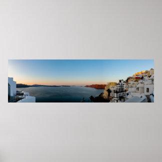 Santorini Sunrise Panorama Poster