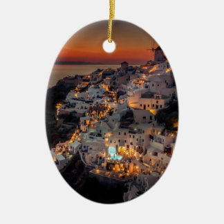 Santorini Sunset, Greece Ceramic Oval Decoration