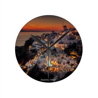 Santorini Sunset, Greece Round Clock